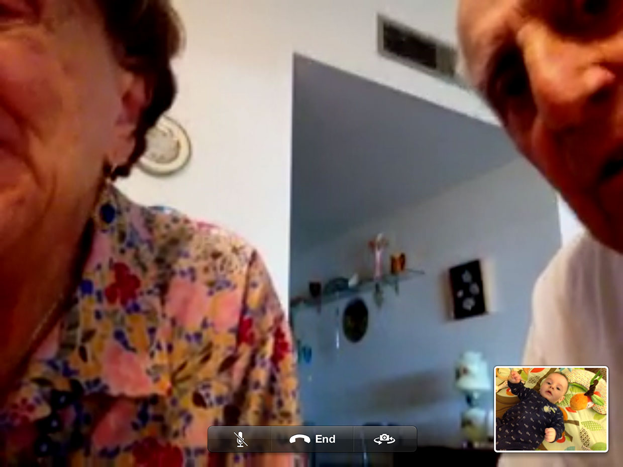 My grandparents using FaceTime to see their great-grandson