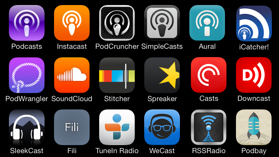 Icons of 18 existing iOS podcast apps